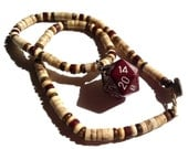 Dark Maroon D20 Necklace D&D with Wooden Beads for Masculine TTRPG Gamers