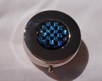 Dichroic Pill Box, Black and Blue Checkerboard Patterned Dichroic Glass, Handmade Purse Accessories, Pill Case, Women's Accessories