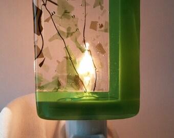 Green Glass Nightlight, Trio of Green Fused Glass, Handmade Home and Living, Home Décor, Bathroom Décor, Bedroom Decor