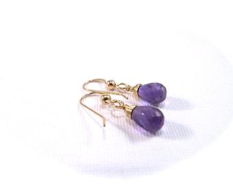 Amethyst Earrings Gold Filled, Gemstone Drop, Wire Wrapped Briolette, February Birthstone Jewelry, Purple Dangle Earrings