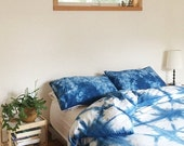 ON SALE Hand Dyed Indigo Bedding, Shibori Bedding, QUEEN Size Duvet Cover and Two Pillow Cases, Anna Joyce, Portland, Or