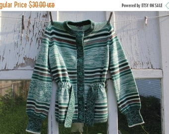 30% OFF SUPER SALE- Vintage Green Cardigan-Carsom Pirie Scott-Acrylic-Striped-Button Up