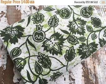 30% OFF SUPER SALE- Green Floral Fabric-  Reclaimed Vintage Linens Fabric-