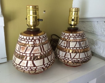 Mid Century Brown Gold SMALL Lamps / Pair / Tabletop / Brick Stone / Ceramic / Metallic