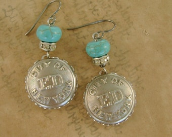 Backdraft - Vintage 1950s New York City Fire Department Buttons Bezels Rhinestones Turquoise Niobium Recycled Repurposed Jewelry Earrings