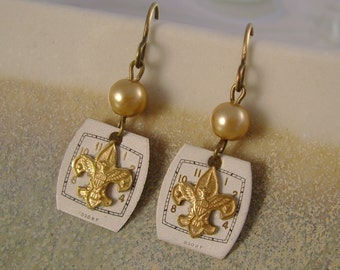 Be Prepared - Vintage Boy Scout Pins Watch Dials Pearls Recycled Repurposed Upcycled Steampunk Jewelry Earrings
