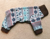 Nordic print sweater fleece pajama onesie for small to medium dog