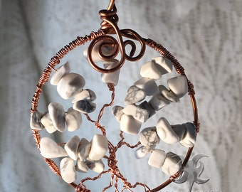 White Howlite Tree of Life Pendant