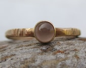 Moonstone and Gold - Wave Ring - Gold-fill and 14k Gold - Handmade in Michigan