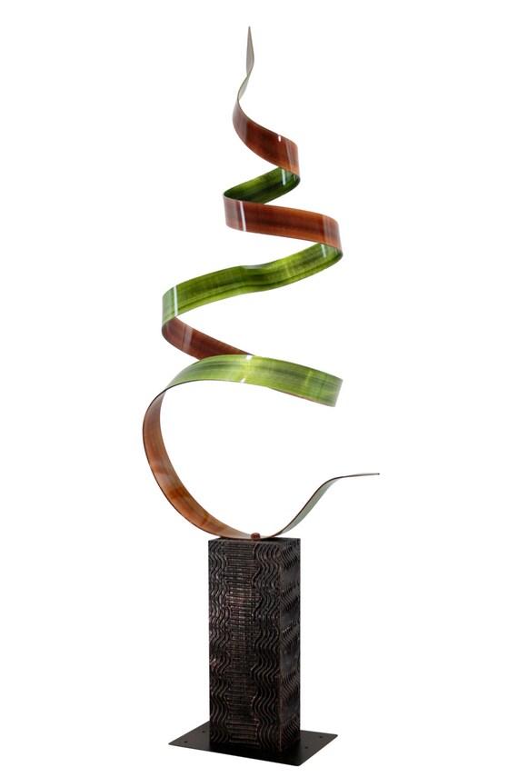 Large Green and Orange Modern Metal Sculpture, Indoor Abstract Metal Art, Reflective Contemporary Metal Decor - Summer Fields by Jon Allen