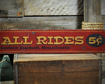 All Rides 5 Cents Wood Sign, Personalized Beach Boardwalk Location Name Carnival Decor - Rustic Hand Made Vintage Wooden Sign ENS1001358
