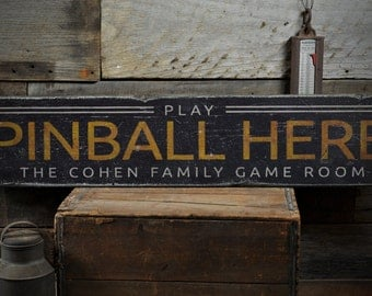 Play Pinball Here Wood Sign, Custom Gamer Man Cave Sign, Family Name Sign, Game Room Decor - Rustic Hand Made Vintage Wooden Sign ENS1001414
