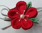 Red Kimono Fabric Flower Sakura Plum Hair Clips, Barrettes, Brooch, Tsumami Kanzashi, Girl Hair accessory, Women Brooch,