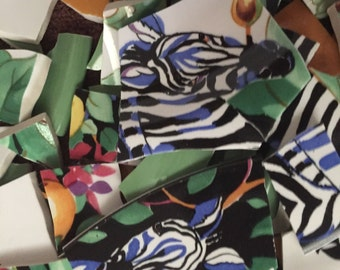 Mosaic Tiles Broken Plate Pieces Art Supply Tesserae Animal Jungle  Print Pottery 100
