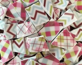 Mosaic Supplies Tiles Broken Plates Tesserae Art Hand Cut Plaid Argyle Colorful Zig Zag Set mix