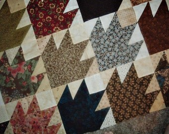 Quilt Top to Finish Scrappy Bear Paws 53 x 63 inches