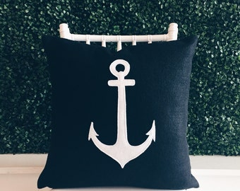 Black with White Anchor - Large Eco Friendly Decorative Pillow Cover