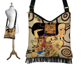 Bohemian Hippie Bag Hobo Purse Crossbody Slouch Bag Gyspy Boho Fringe Bag, Gustav Klimt Expectation, Art Nouveau, Woman Goddess,  MTO