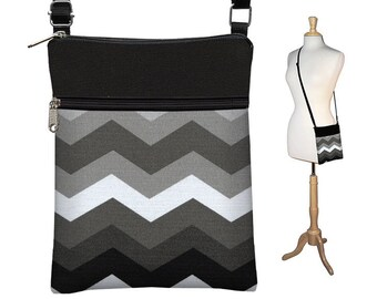 SALE Chevron Purse, Sling Shoulder Bag, Small Chevron CrossBody Bag, Cross Body Travel Bag, zipper black white gray fabric RTS