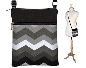 SALE Chevron Purse, Sling Shoulder Bag, Small Chevron CrossBody Bag, Cross Body Travel Bag, zipper black white gray fabric MTO