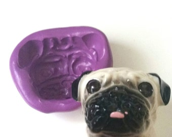 PUG Dog's Head Silicone Mold Mould  Polymer Clay Sugarpaste Fimo Resin Icing Cake Decorating