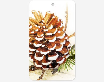 Set of 48 Holiday gift tags, Pine Cone gift tags, Christmas gift tags