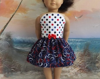 American Girl Doll Dress Handmade Red White And Blue Strapless Medley NEW