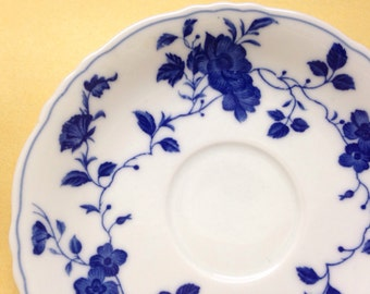Royal Meissen saucer plate fine china vintage japan 6 inches scalloped edge blue & white floral