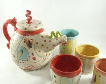 Ceramic Teapot Set in colorful woodland forest design, artistic limited edition tree and owl tea pot and tea cups 462