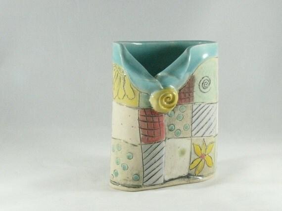 Ceramic Soap Dispenser / Oval Vase / Art Vessel / Toothbrush Holder / Pencil Holder Desk Organizer, Pen Holder, Office Desk Accessories 396