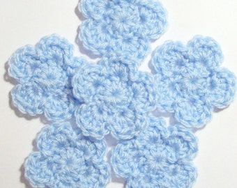 Crochet Flower Appliques, Blue Crochet Flower Embellishment, Set of 6,  Scrapbooking, Crochet Flower Motif