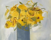 flower painting acrylic on canvas 16x20 yellow roses, grey and yellow,  gallery wall, still life