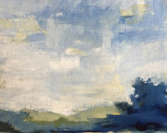 landscape painting acrylic painting on paper  blue and yellow wall art home decor original