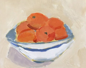 still life oranges in a bowl orange painting original acrylic painting, wall art, home decor