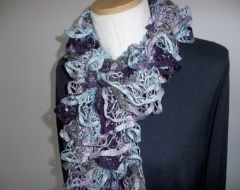 Multicolor Ruffle Scarf - Hand Knit Scarf - Womens Accessory - Gift for Her - Handmade Scarf
