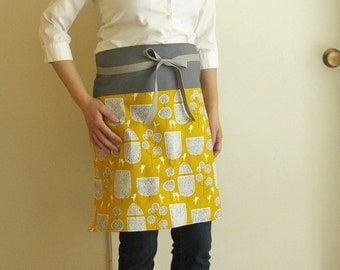Reversible apron trees and birds on mustard yellow / gray band, white polka dots on gray. modern apron, kitchen, cooking, grey, yellow