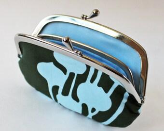Coin purse / wallet kiss lock purse - blue flower pods on dark gray grey floral botanical light blue frame purse