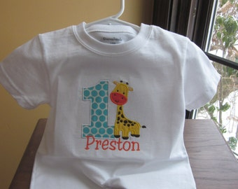 FIRST BIRTHDAY SHIRT only Baby Giraffe Animal Party Theme