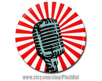 "Retro Microphone 1.25"" or 2.25"" Pinback Pin Button Badge Vintage Style Mic Microphone Pop Art Design"