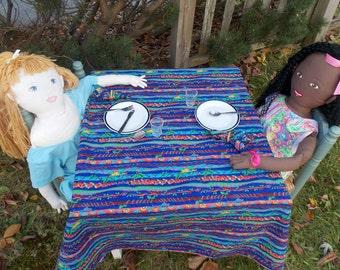 Childs Tea Party Tablecloth - Tea Party Table Cloth - Play Cloth Napkins -  Pretend Tea Party Set - Child Tablecloth - Rainforest Fabric