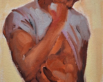 Male Figure Oil Painting on paper Title 'III'