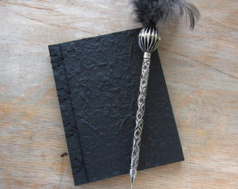 Softcover Journal Notebook, 6x4.5 inches, Black Mulberry, unlined black pages, Ready to Ship