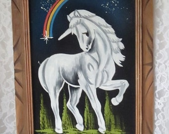 Vintage Magical White Unicorn with Rainbow and Stars, Framed Black Velvet Painting, Retro 1970's