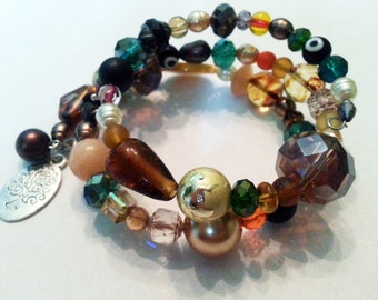 Autumn colors memory wire bracelet with tree charm