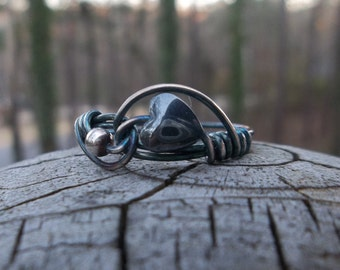 FREE DOMESTIC SHIPPING Hematite and Oxidized Sterling Silver Heart Ring, Valentines Day Ring, Hematite Ring, Sterling Silver Ring