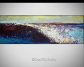 Wave Painting LARGE ORIGINAL Abstract Modern Seascape ocean on Canvas 24x8 by BenWill