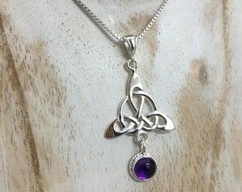 Celtic Trinity Knot Pendant Necklace with Amethyst 18 inch Box Chain, Irish Bohemian Celtic Hipster Necklace, Amethyst Celtic Boho Necklace