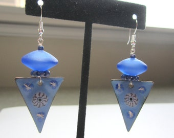 OOAK Artisan Blue Enamel and Lampwork Earrings.  Blue Enamel and Lampwork Glass Earrings.