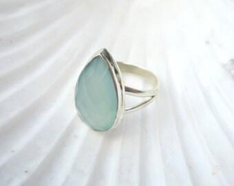 Aqua Chalcedony Ring. Size 8. Pear Shaped Aqua Chalcedony Ring. Sterling Silver.  Chalcedony Ring.