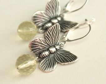 Antiqued Silver Butterfly Earrings - Lemon Quartz - Leverback Earwires